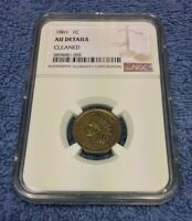 1861 INDIAN HEAD CENT PENNY NGC AU ALMOST UNCIRCULATED CERTIFIED - CLEANED