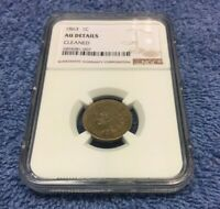 1863 INDIAN HEAD CENT PENNY NGC AU ALMOST UNCIRCULATED CERTIFIED - CLEANED