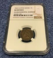 1864 INDIAN HEAD CENT PENNY NGC AU ALMOST UNCIRCULATED CERTIFIED - CLEANED