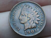 1901 INDIAN HEAD CENT PENNY- VF/EXTRA FINE  DETAILS