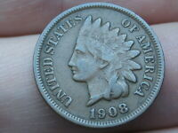 1908 INDIAN HEAD CENT PENNY- VF/EXTRA FINE  DETAILS