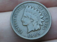 1908 INDIAN HEAD CENT PENNY- VF DETAILS