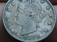 1883 LIBERTY HEAD V NICKEL- WITH CENTS- EXTRA FINE  DETAILS, NEARLY FULL RIMS