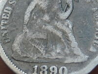 1890 P SEATED LIBERTY SILVER DIME