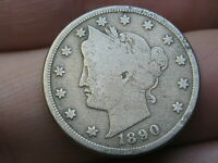 1890 LIBERTY HEAD V NICKEL 5 CENT PIECE, FINE DETAILS