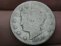 1890 LIBERTY HEAD V NICKEL 5 CENT PIECE, FULL DATE