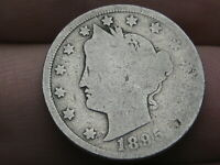 1895 LIBERTY HEAD V NICKEL 5 CENT PIECE- AG/GOOD DETAILS