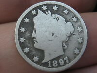 1897 LIBERTY HEAD V NICKEL 5 CENT PIECE- GOOD DETAILS, FULL OBVERSE RIMS
