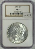 1887 VAM-3A LDS ELITE SUPER CLASHED DIE SCD NGC MINT STATE 66 MORGAN DOLLAR [INV 899]