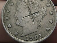 1901 LIBERTY HEAD V NICKEL- VF/EXTRA FINE  DETAILS, COUNTERSTAMPED