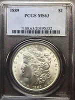 1889 P PCGS MINT STATE 63 VAM 46 CLASHED AND DOUBLED ONE AND EAR MORGAN SILVER DOLLAR