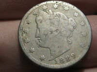 1889 LIBERTY HEAD V NICKEL- VG/FINE OBVERSE DETAILS, FULL DATE