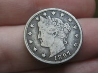 1897 LIBERTY HEAD V NICKEL 5 CENT PIECE- VF/EXTRA FINE  DETAILS