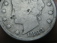 1883 LIBERTY HEAD V NICKEL 5 CENT PIECE- WITH CENTS, VG DETAILS