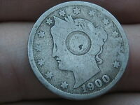 1900 LIBERTY HEAD V NICKEL- COUNTERSTAMPED? FULL DATE
