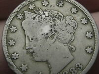 1883 LIBERTY HEAD V NICKEL- WITH CENTS- FINE DETAILS