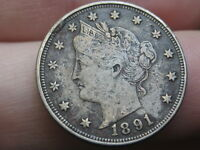 1891 LIBERTY HEAD V NICKEL 5 CENT PIECE- EXTRA FINE  DETAILS, FULL RIMS