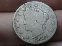 1891 LIBERTY HEAD V NICKEL- VG/FINE DETAILS, FULL DATE