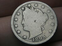 1895 LIBERTY HEAD V NICKEL 5 CENT PIECE- GOOD DETAILS