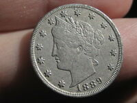 1889 LIBERTY HEAD V NICKEL 5 CENT PIECE- EXTRA FINE  DETAILS