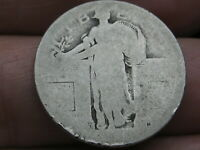 1917 D SILVER STANDING LIBERTY QUARTER, TYPE 1, LOWBALL, HEAVILY WORN