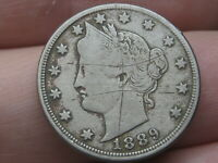 1889 LIBERTY HEAD V NICKEL 5 CENT PIECE- VF/EXTRA FINE  DETAILS