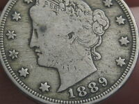 1889 LIBERTY HEAD V NICKEL- VG/FINE DETAILS, FULL RIMS