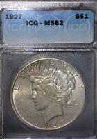 1927 PEACE SILVER DOLLAR ICG MINT STATE 62, TOUGHER DATE,ISSUE FREE