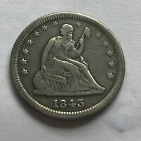 1843 O SEATED LIBERTY QUARTER   VF  OLD CLEANING