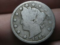 1889 LIBERTY HEAD V NICKEL 5 CENT PIECE- GOOD/VG DETAILS