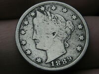 1889 LIBERTY HEAD V NICKEL- FINE/VF OBVERSE DETAILS, FULL RIMS