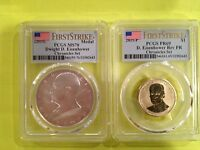 2015 COIN& CHRONICLES SET DWIGHT EISENHOWER DOLLAR   MS70 AND PR69 LOW POP COINS