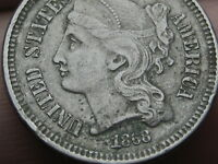 1868 THREE 3 CENT NICKEL- VF DETAILS