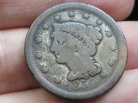 1850 BRAIDED HAIR LARGE CENT PENNY- VG DETAILS
