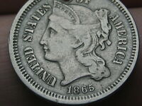 1865 THREE 3 CENT NICKEL- VF DETAILS, FULL RIMS