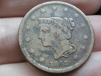 1842 BRAIDED HAIR LARGE CENT PENNY- SMALL DATE, FINE DETAILS