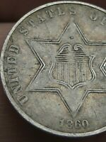 1860 THREE 3 CENT SILVER TRIME- TYPE 3, VF/EXTRA FINE  DETAILS