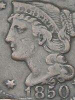 1850 BRAIDED HAIR LARGE CENT PENNY- FINE/VF DETAILS