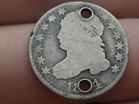 1824/2 CAPPED BUST SILVER DIME- 4 OVER 2, FLAT TOP 1