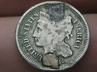1865 THREE 3 CENT NICKEL- CIVIL WAR TYPE COIN