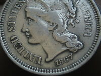 1867 THREE 3 CENT NICKEL- EXTRA FINE  DETAILS, FULL RIMS
