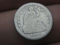 1840 P SEATED LIBERTY HALF DIME, WITH DRAPERY