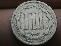1865 THREE 3 CENT NICKEL- VG DETAILS, LARGE DIE CUD ERROR