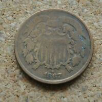 1867 US TWO CENT PIECE 2C ABOUT GOOD AG HARD DATE