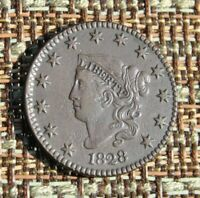 1828 MATRON OR CORONET HEAD LARGE CENT COIN 1C EXTRA FINE