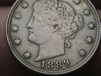 1889 LIBERTY HEAD V NICKEL- EXTRA FINE  DETAILS
