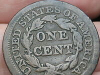 1854 BRAIDED HAIR LARGE CENT PENNY- FINE DETAILS