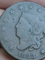 1823/2 MATRON HEAD LARGE CENT PENNY- 3 OVER 2 OVERDATE