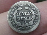 1849-O SEATED LIBERTY HALF DIME- GOOD/VG DETAILS-  KEY DATE