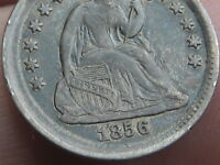 1856 P SEATED LIBERTY HALF DIME- VF/EXTRA FINE  DETAILS